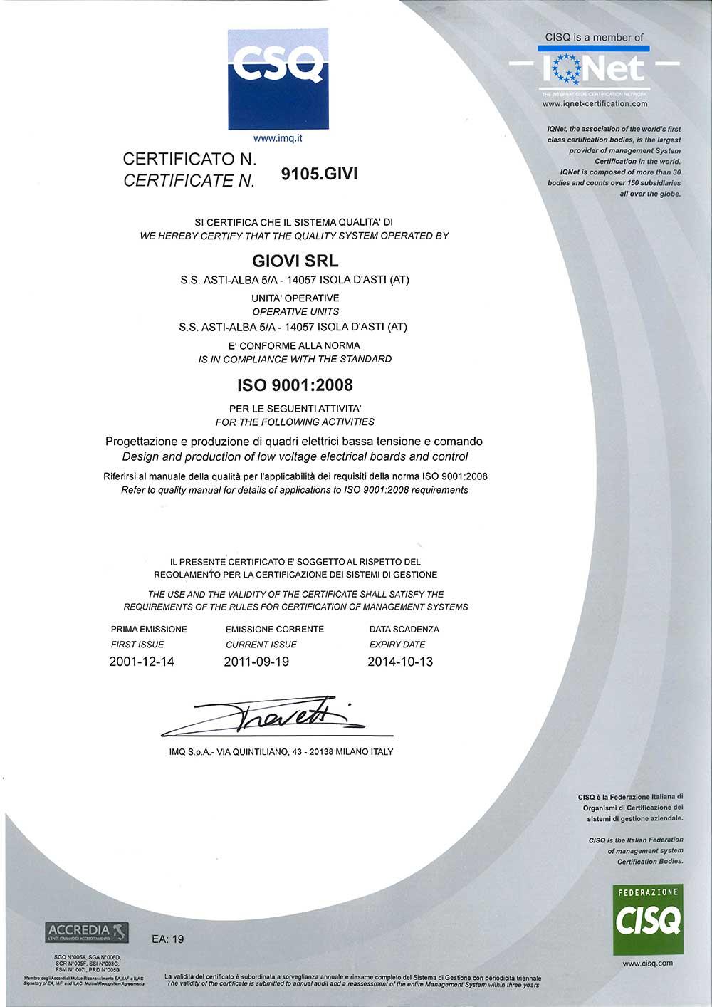 Giovi srl - Certified company - csq