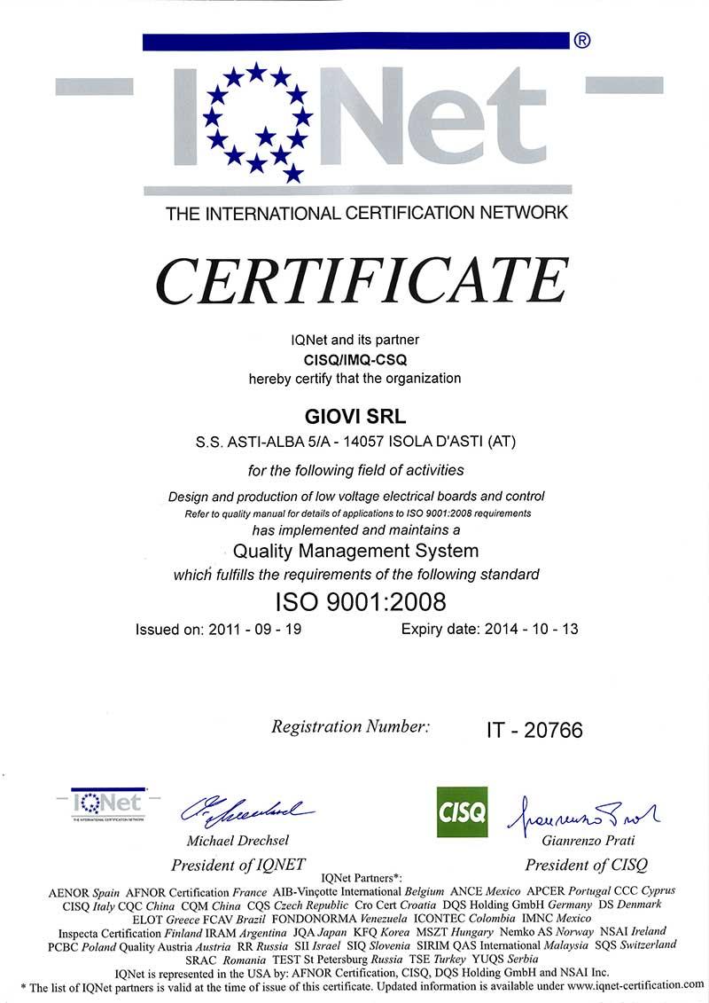 Giovi Azienda Certificata Iso 9001